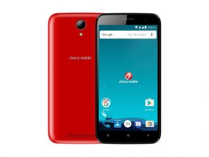 The Cherry Mobile Touch 2 smartphone in red.