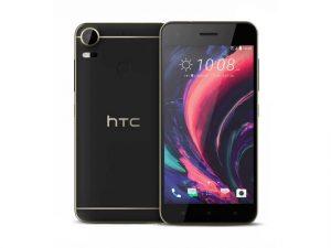 The HTC Desire 10 Pro smartphone in black.