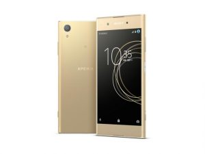 The Sony Xperia XA1 Plus smartphone in gold.
