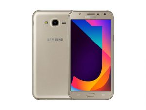The Samsung Galaxy J7 Core smartphone in gold.