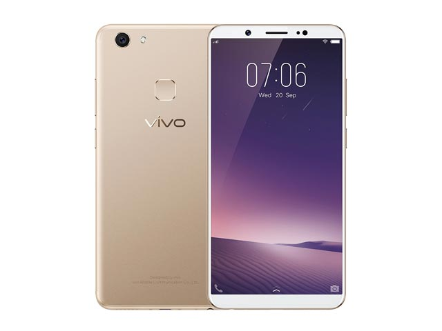 The Vivo V7 Plus smartphone in gold.