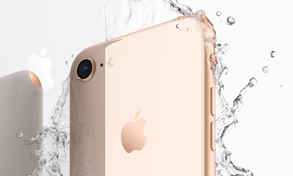 The iPhone 8 touts its IP67 certified water resistant body.