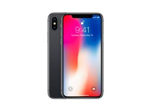 The Apple iPhone X in space gray.