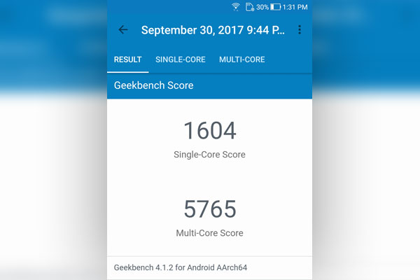Geekbench score of the ASUS Zenfone 4 smartphone.