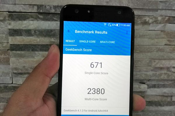 Geekbench score of the ASUS Zenfone 4 Selfie.
