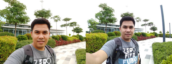 Normal vs. wide angle selfie using the ASUS Zenfone 4 Selfie.
