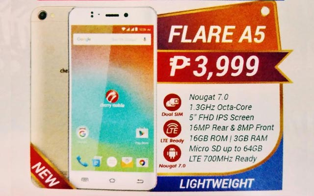Leaked image of the Cherry Mobile Flare A5 smartphone with specs.