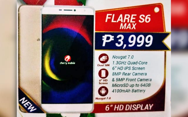 Leaked image of the Cherry Mobile Flare S6 Max smartphone.