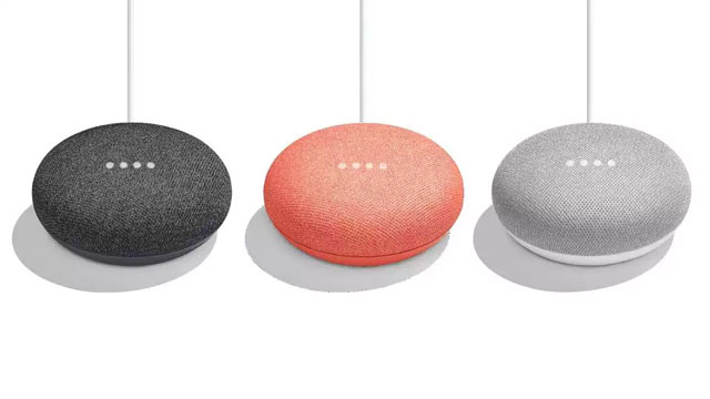 The Google Home Mini in three colors.