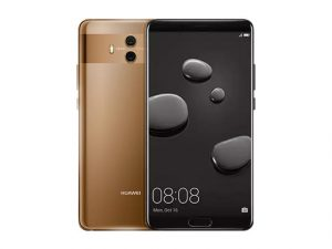 The Huawei Mate 10 smartphone in black and gold.