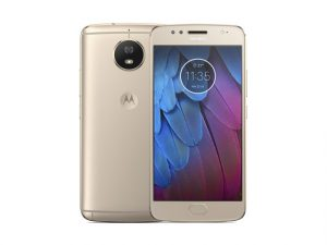 The Motorola Moto G5s smartphone in gold.