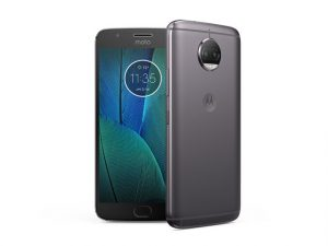 The Motorola Moto G5s Plus smartphone in gray.