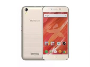 The Starmobile Up Groove smartphone in gold.