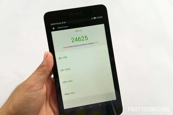 Antutu Benchmark scores of the Huawei MediaPad T2 7.0.