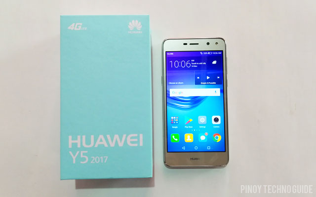 Huawei Y5 2017 and its box.