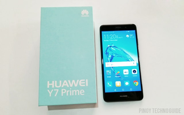 The Huawei Y7 Prime and its box.