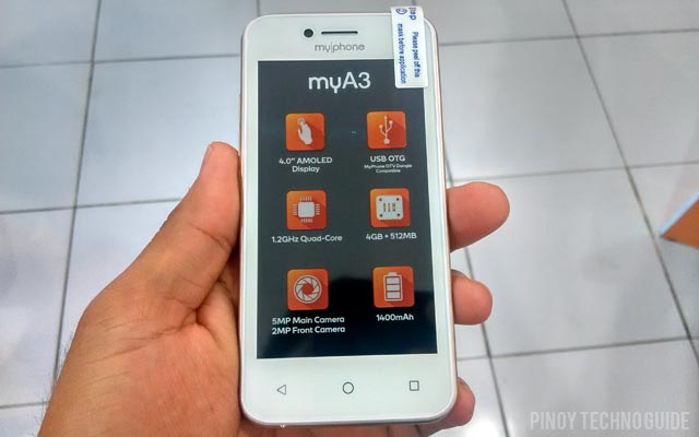 This is the MyPhone MyA3 smartphone in white.
