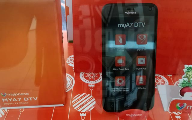 The MyPhone MyA7 DTV displayed in a MyPhone concept store.