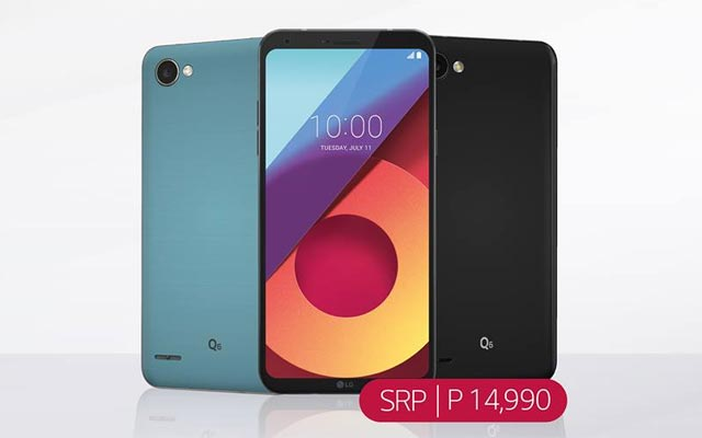 LG Q6+ in blue and black.