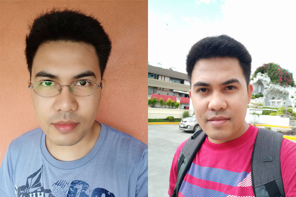 Selfie with AI Beautification (left) and without (right).