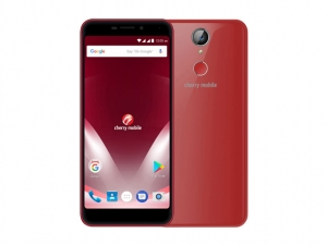 The Cherry Mobile Flare P3 Plus smartphone in red.