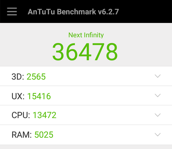 Antutu scores of the Cloudfone Next Infinity.