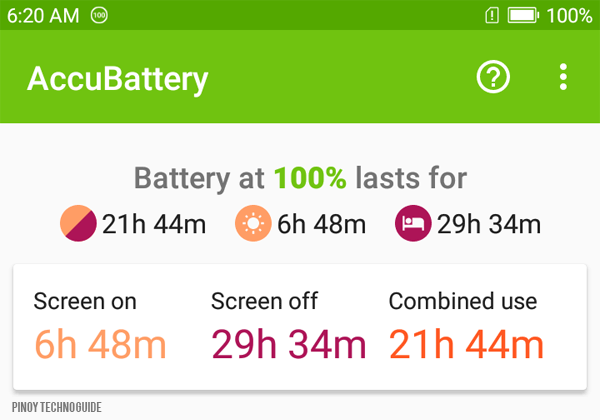 Battery performance of the Cloudfone Next infnity as measured by AccuBattery.