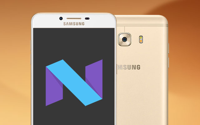 Samsung Galaxy C9 Pro with Android Nougat logo.
