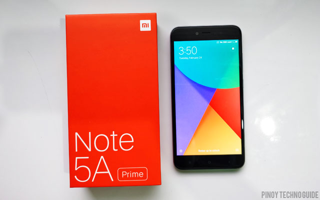 The Xiaomi Redmi Note 5A Prime and its box.