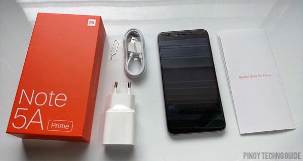 Contents of the Xiaomi Redmi Note 5A Prime box.