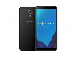 The Cloudfone Thrill Boost 3 smartphone in black.