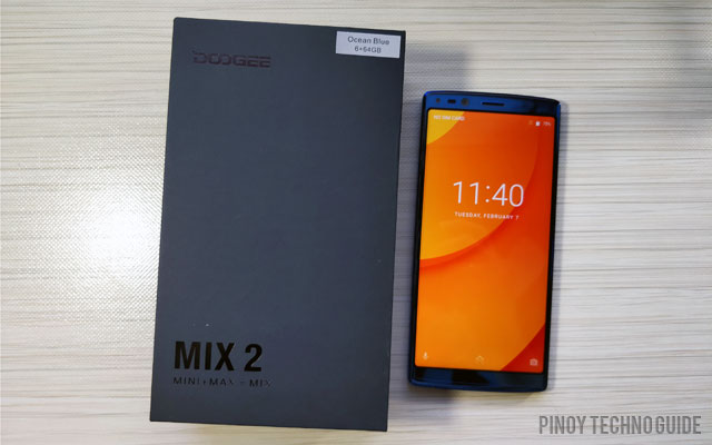 The Doogee Mix 2 and its box.