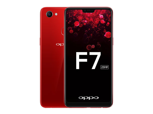 The OPPO F7 smartphone in red.