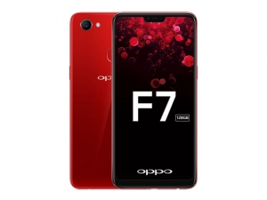 The OPPO F7 128GB smartphone in solar red.