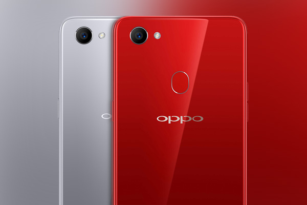 The OPPO F7 in silver and red.