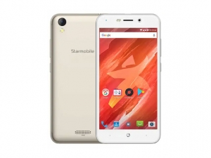 The Starmobile Up Xtreme smartphone in gold.