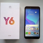 The Huawei Y6 2018 smartphone and its simple box.