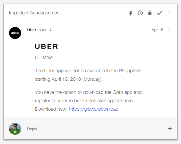 Uber's email to its users.