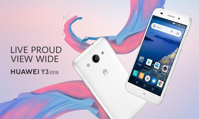 The Huawei Y3 2018 smartphone in white.