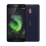 The Nokia 2.1 smartphone in blue with copper trim.