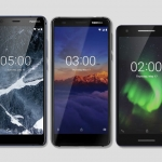 (Left to right) The Nokia 5.1, Nokia 3.1 and Nokia 2.1 smartphones.