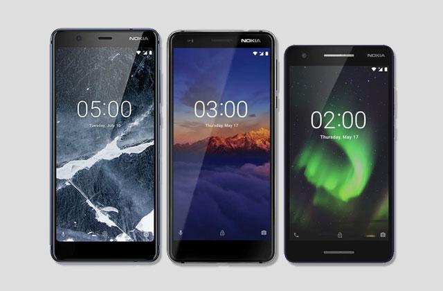 (Left to right) The Nokia 5.1, Nokia 3.1 and Nokia 2.1 smartphones.