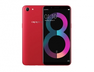 The OPPO A83 (2018) smartphone in red.
