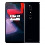 The OnePlus 6 smartphone in mirror black.