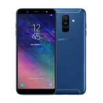 The Samsung Galaxy A6+ smartphone in blue.