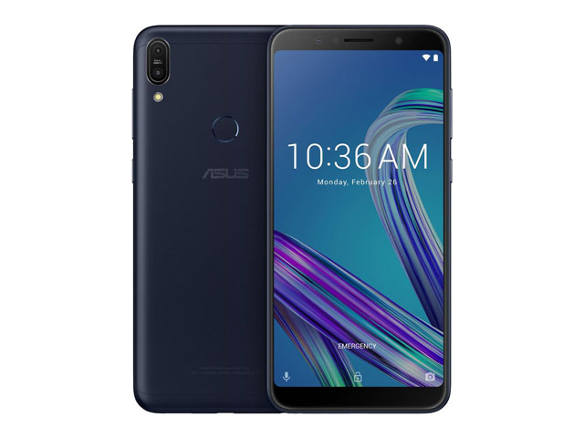 The ASUS Zenfone Max Pro M1 smartphone in black.