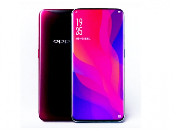 The OPPO Find X smartphone in red.