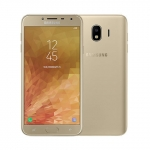 The Samsung Galaxy J4 smartphone in gold.
