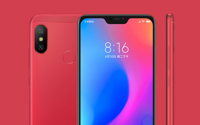 The Xiaomi Redmi 6 Pro in red.