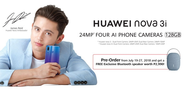 Actor James Reid is the face of the Huawei Nova 3i.